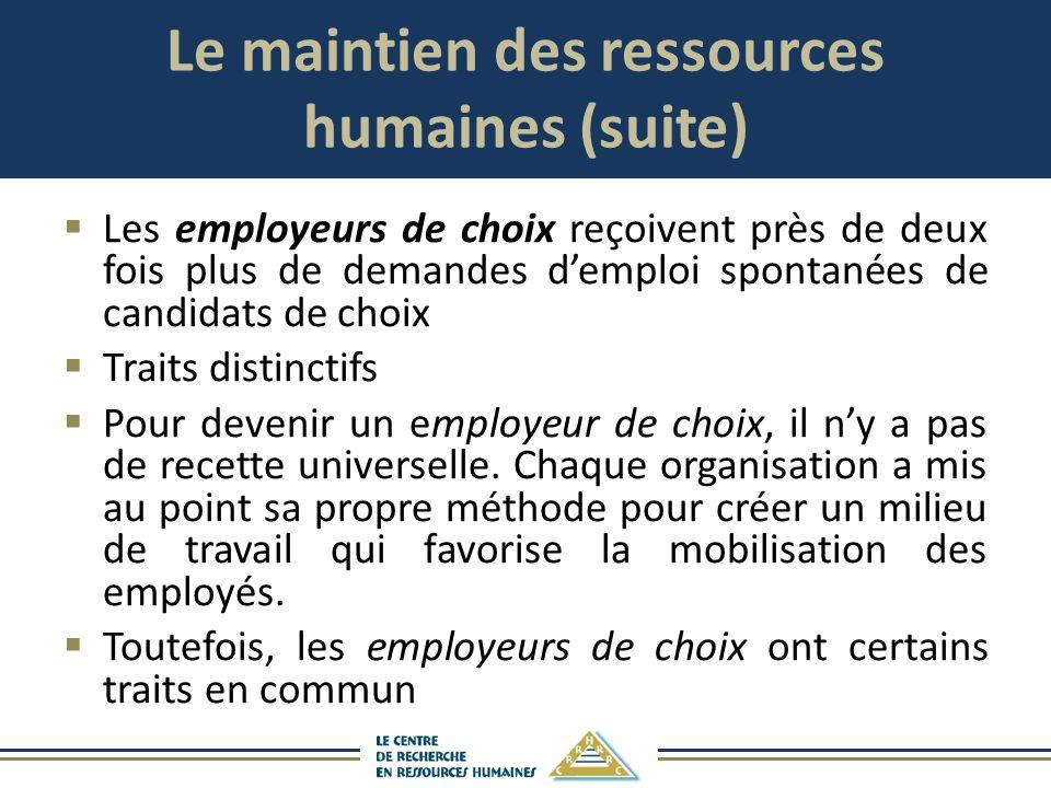Le maintien des ressources humaines (suite) Les employeurs de choix reçoivent près de deux fois plus de demandes demploi spontanées de candidats de ch