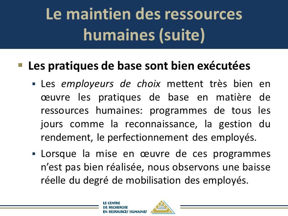 Le maintien des ressources humaines (suite) Les pratiques de base sont bien exécutées Les employeurs de choix mettent très bien en œuvre les pratiques