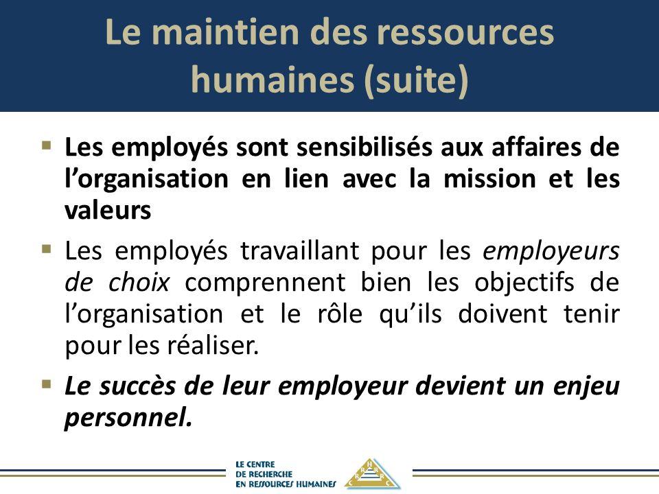 Le maintien des ressources humaines (suite) Les employés sont sensibilisés aux affaires de lorganisation en lien avec la mission et les valeurs Les em