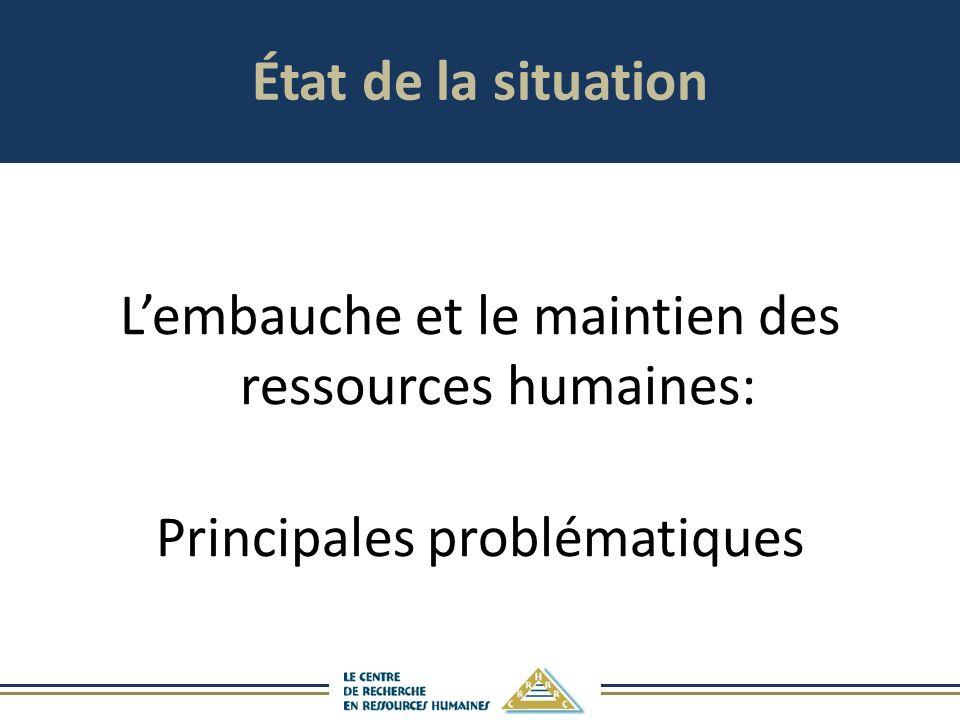 État de la situation Lembauche et le maintien des ressources humaines: Principales problématiques