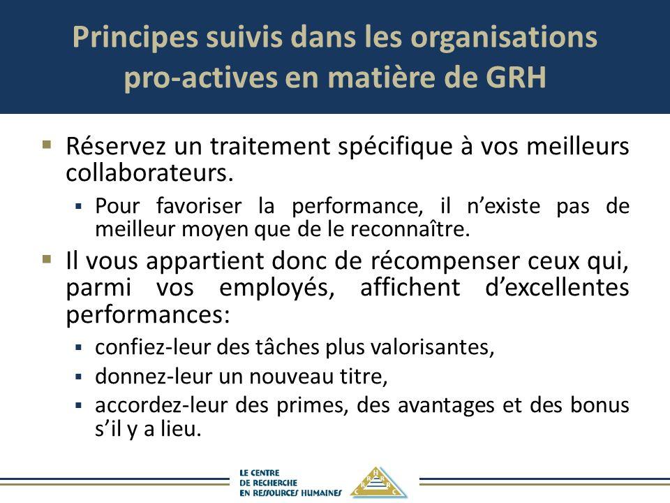 Principes suivis dans les organisations pro-actives en matière de GRH Réservez un traitement spécifique à vos meilleurs collaborateurs. Pour favoriser