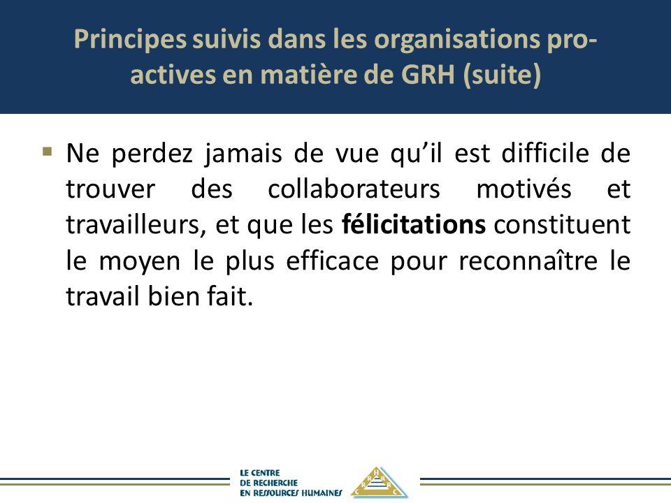 Principes suivis dans les organisations pro- actives en matière de GRH (suite) Ne perdez jamais de vue quil est difficile de trouver des collaborateur