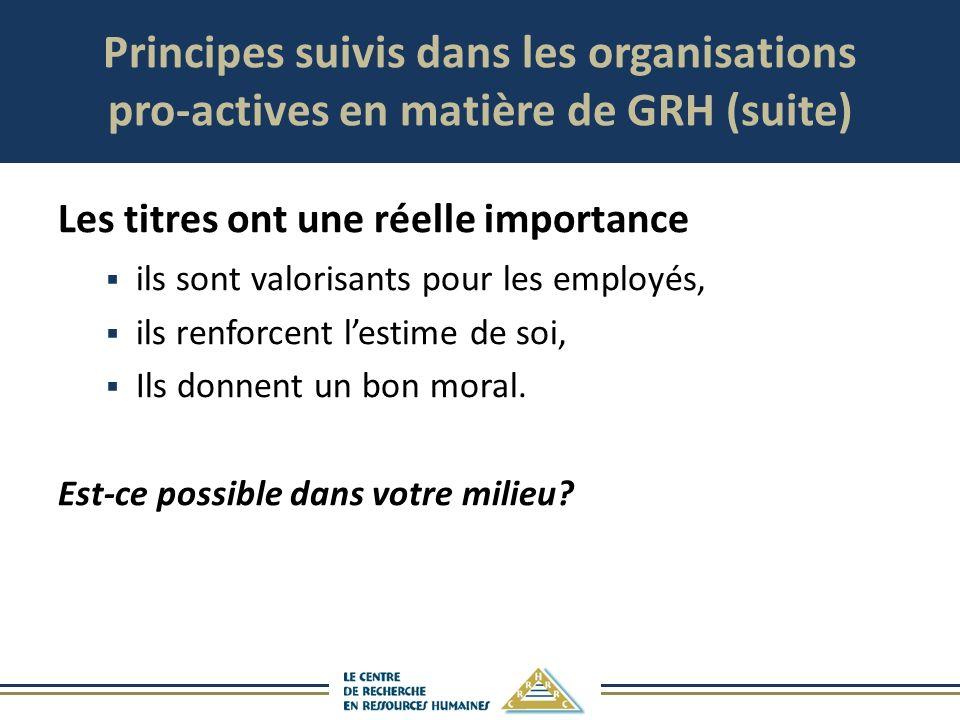 Principes suivis dans les organisations pro-actives en matière de GRH (suite) Les titres ont une réelle importance ils sont valorisants pour les emplo