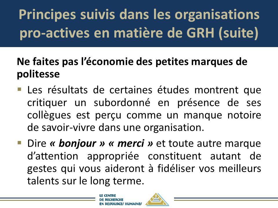Principes suivis dans les organisations pro-actives en matière de GRH (suite) Ne faites pas léconomie des petites marques de politesse Les résultats d