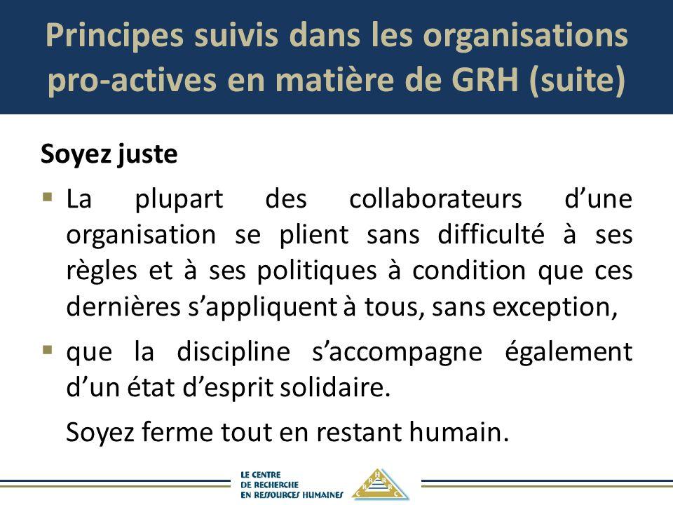 Principes suivis dans les organisations pro-actives en matière de GRH (suite) Soyez juste La plupart des collaborateurs dune organisation se plient sa