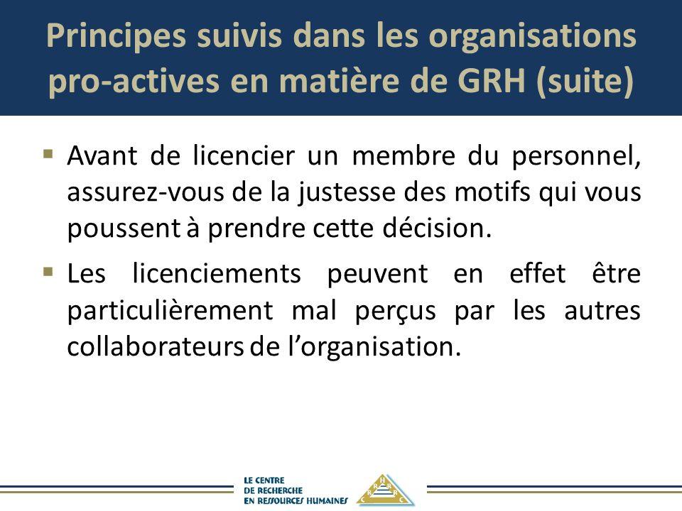 Principes suivis dans les organisations pro-actives en matière de GRH (suite) Avant de licencier un membre du personnel, assurez-vous de la justesse d