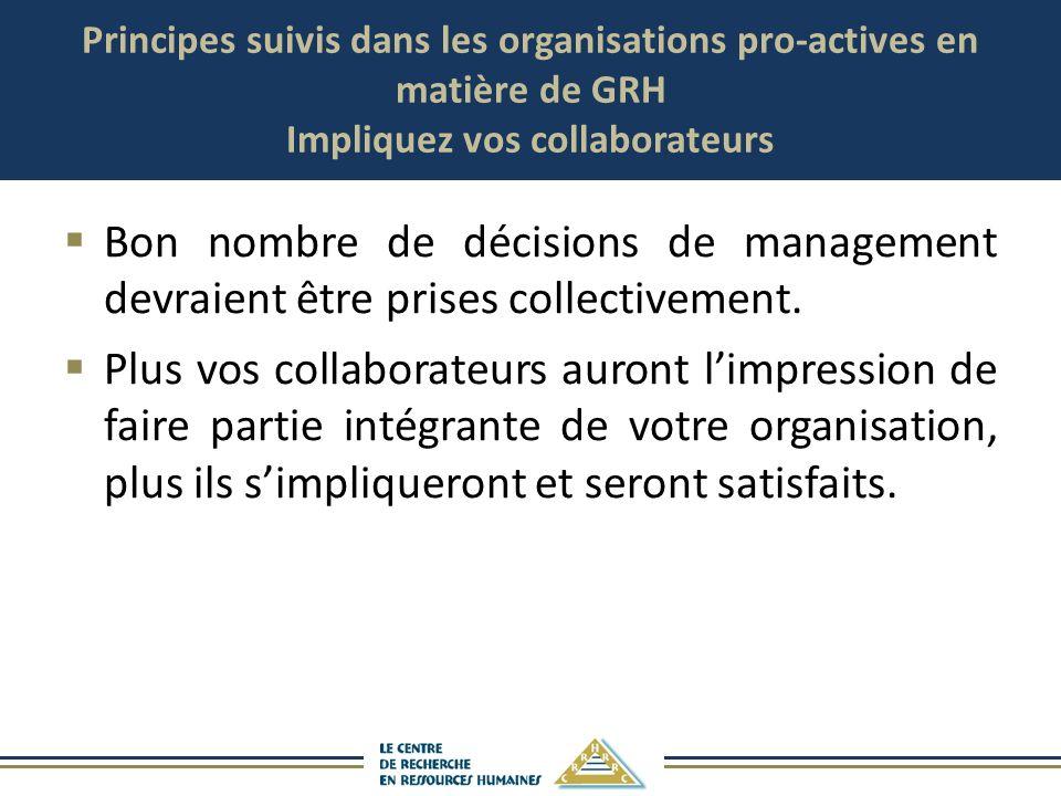 Principes suivis dans les organisations pro-actives en matière de GRH Impliquez vos collaborateurs Bon nombre de décisions de management devraient êtr