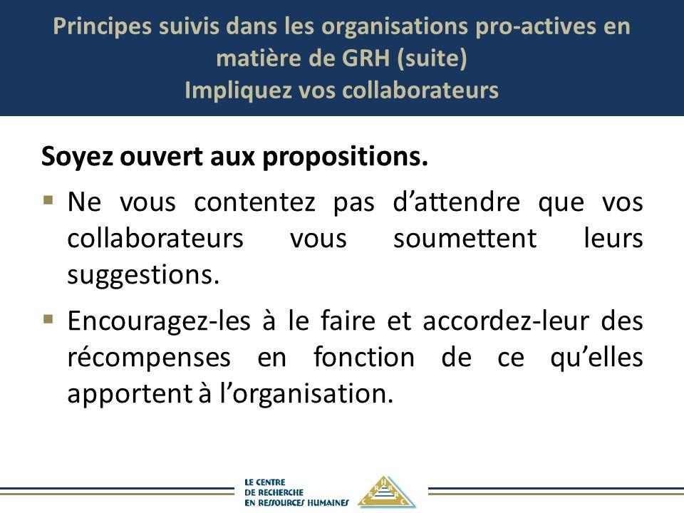 Principes suivis dans les organisations pro-actives en matière de GRH (suite) Impliquez vos collaborateurs Soyez ouvert aux propositions. Ne vous cont