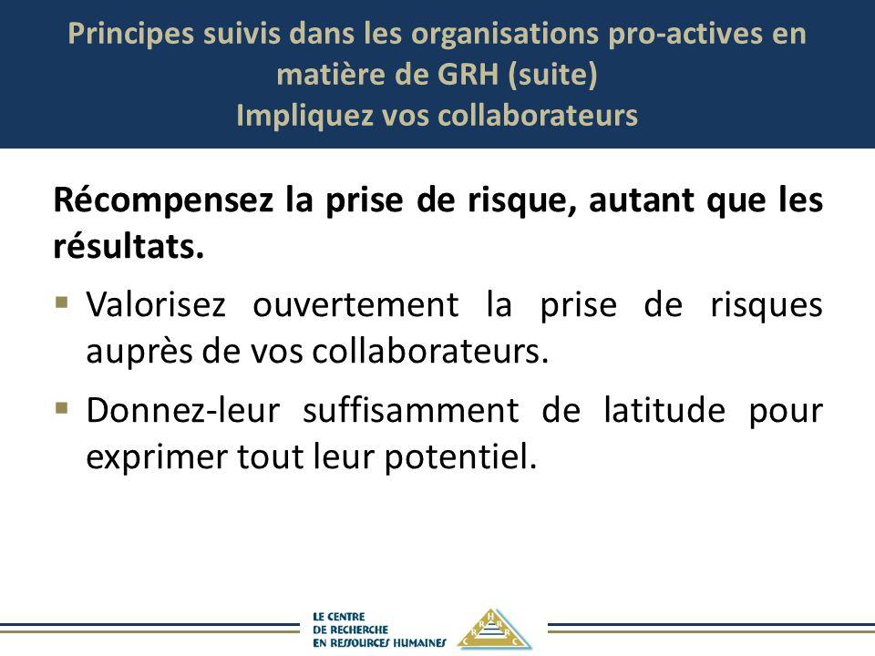 Principes suivis dans les organisations pro-actives en matière de GRH (suite) Impliquez vos collaborateurs Récompensez la prise de risque, autant que