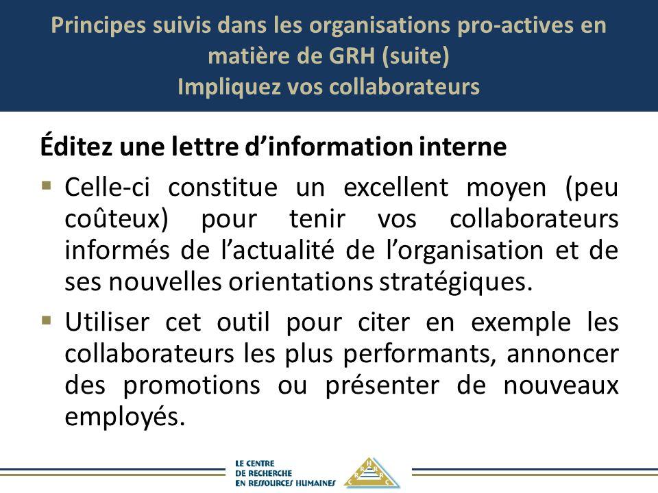 Principes suivis dans les organisations pro-actives en matière de GRH (suite) Impliquez vos collaborateurs Éditez une lettre dinformation interne Cell