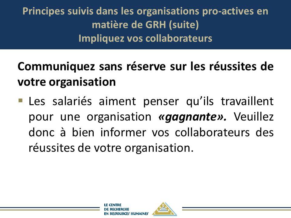 Principes suivis dans les organisations pro-actives en matière de GRH (suite) Impliquez vos collaborateurs Communiquez sans réserve sur les réussites