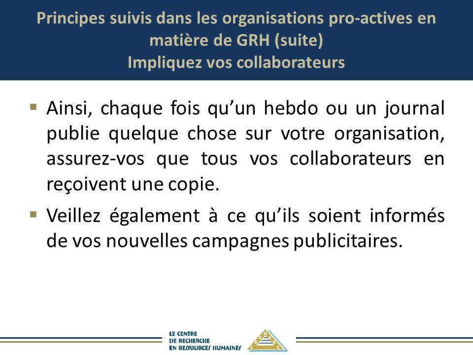 Principes suivis dans les organisations pro-actives en matière de GRH (suite) Impliquez vos collaborateurs Ainsi, chaque fois quun hebdo ou un journal