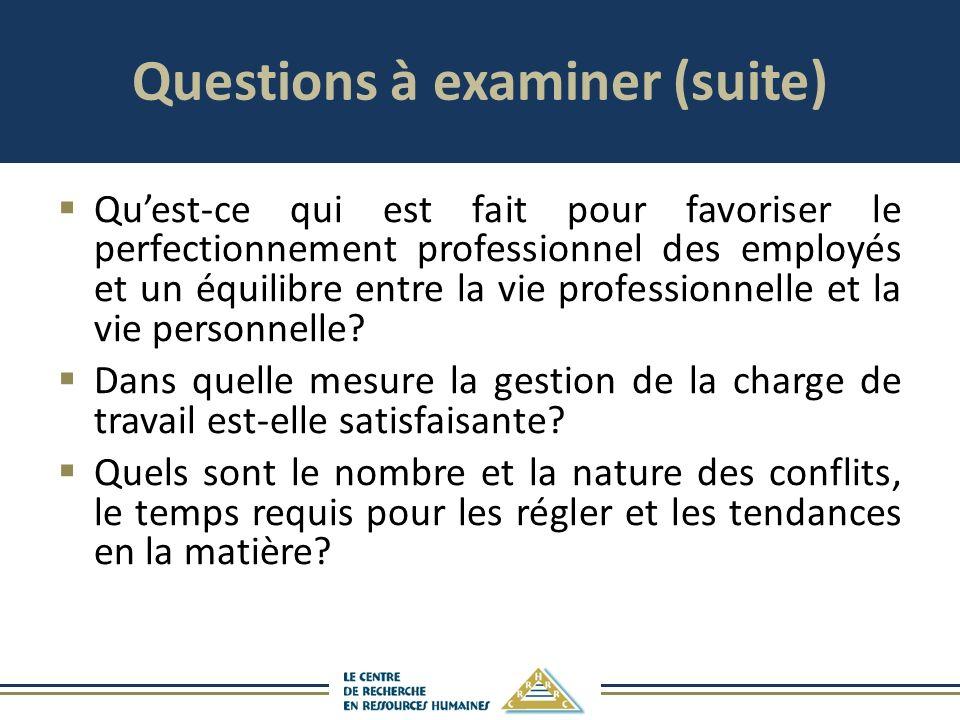 Questions à examiner (suite) Quest-ce qui est fait pour favoriser le perfectionnement professionnel des employés et un équilibre entre la vie professi