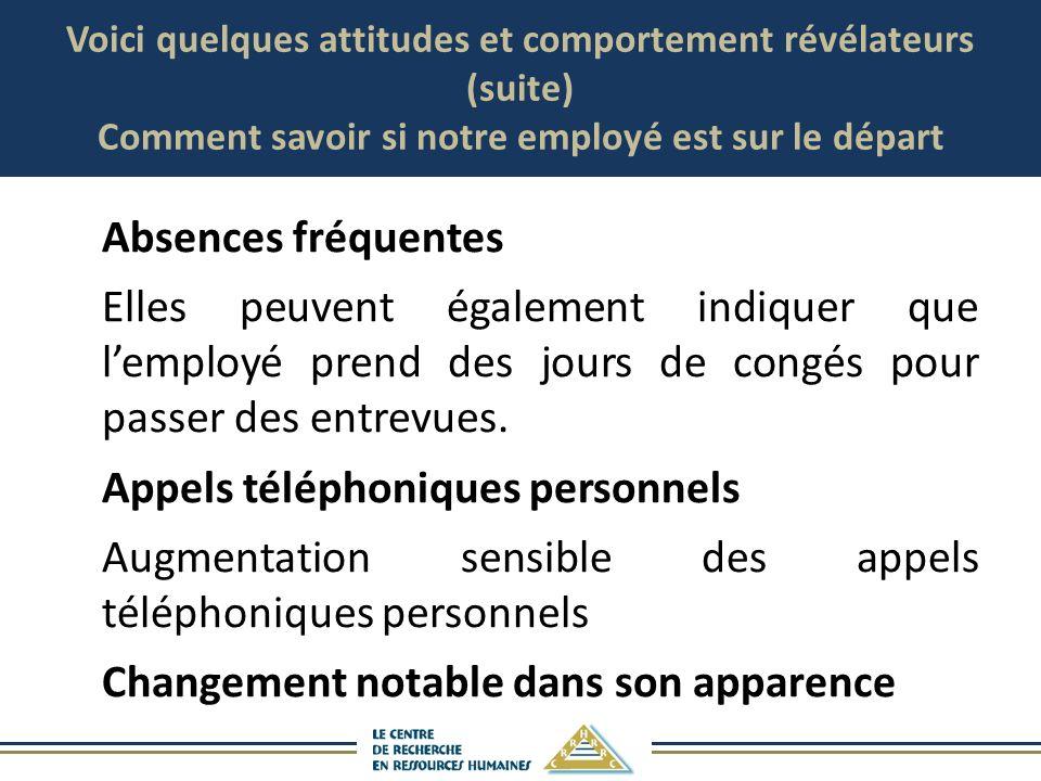 Voici quelques attitudes et comportement révélateurs (suite) Comment savoir si notre employé est sur le départ Absences fréquentes Elles peuvent égale