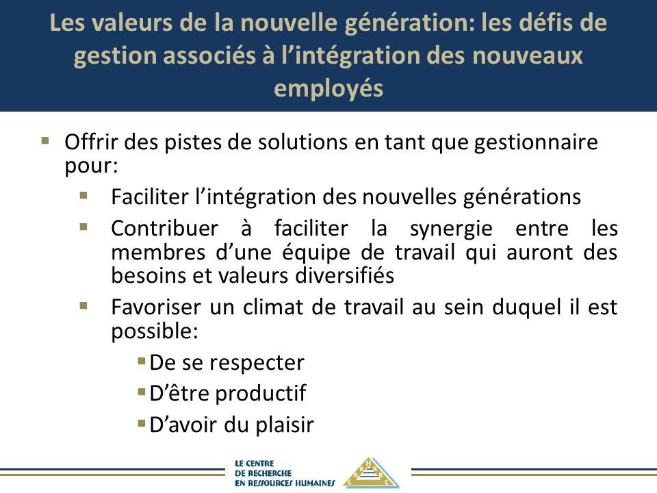 Les valeurs de la nouvelle génération: les défis de gestion associés à lintégration des nouveaux employés Offrir des pistes de solutions en tant que g