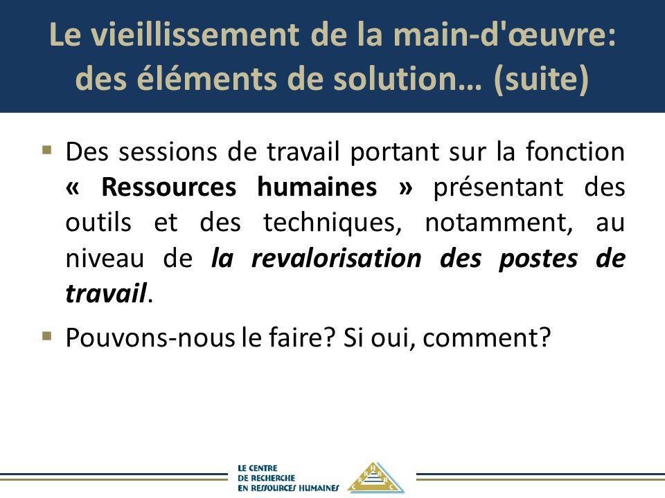 Le vieillissement de la main-d'œuvre: des éléments de solution… (suite) Des sessions de travail portant sur la fonction « Ressources humaines » présen
