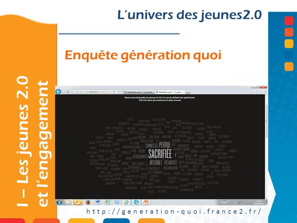 Enquête génération quoi Lunivers des jeunes2.0 http://generation-quoi.france2.fr/ I – Les jeunes 2.0 et lengagement