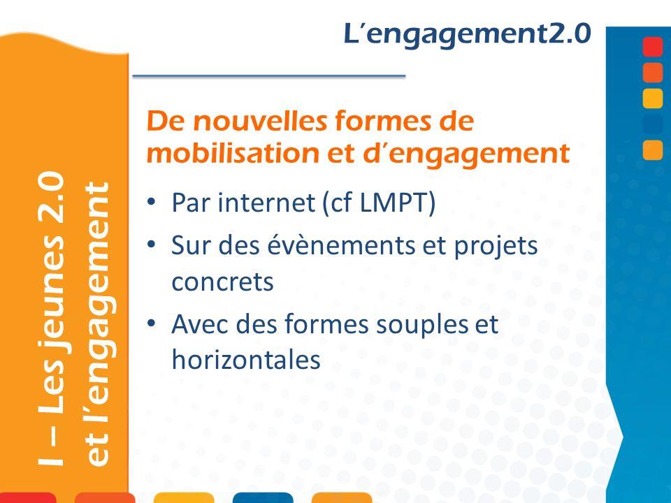 De nouvelles formes de mobilisation et dengagement Lengagement2.0 Par internet (cf LMPT) Sur des évènements et projets concrets Avec des formes souples et horizontales I – Les jeunes 2.0 et lengagement