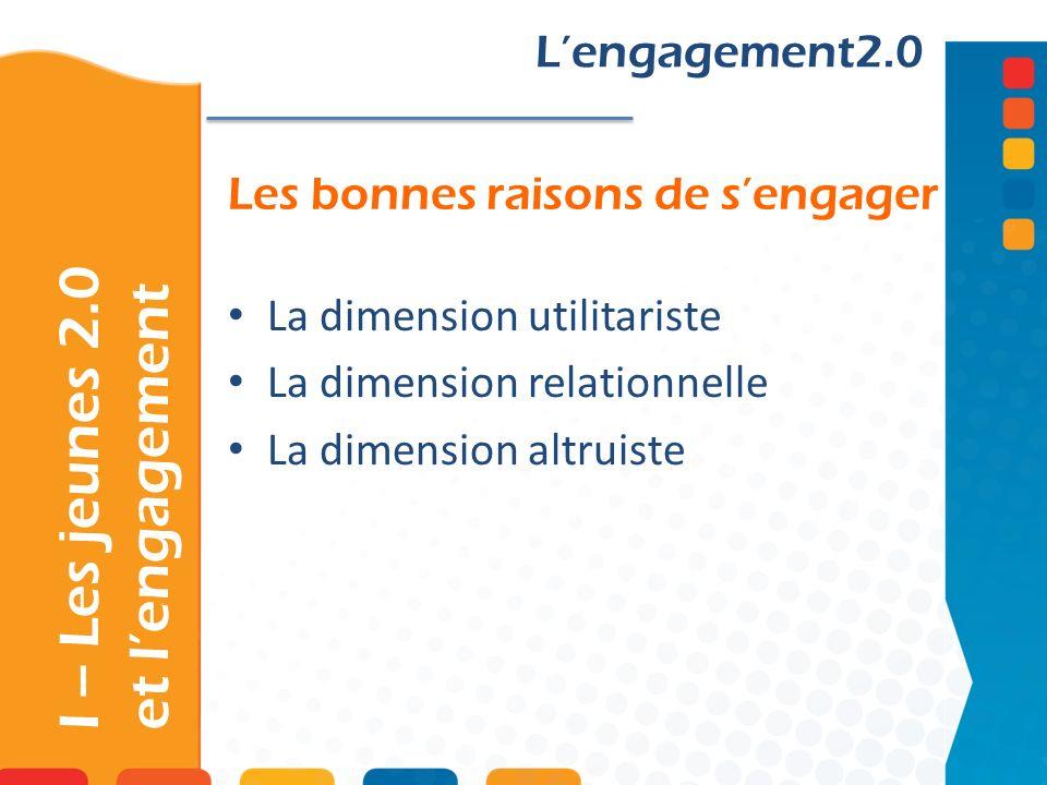 Les bonnes raisons de sengager Lengagement2.0 La dimension utilitariste La dimension relationnelle La dimension altruiste I – Les jeunes 2.0 et lengagement