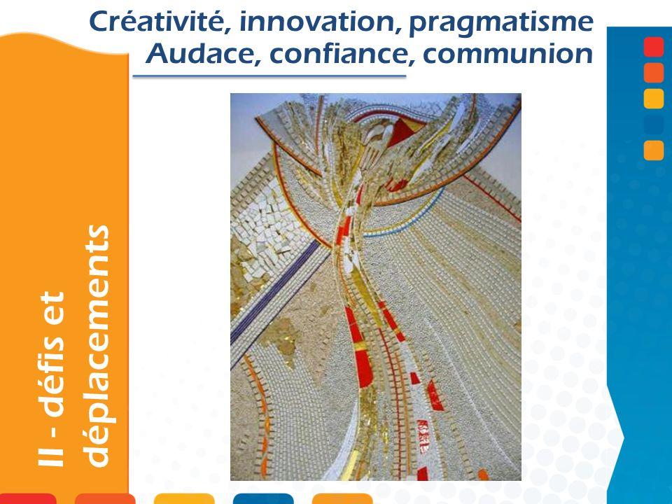 II - défis et déplacements Créativité, innovation, pragmatisme Audace, confiance, communion