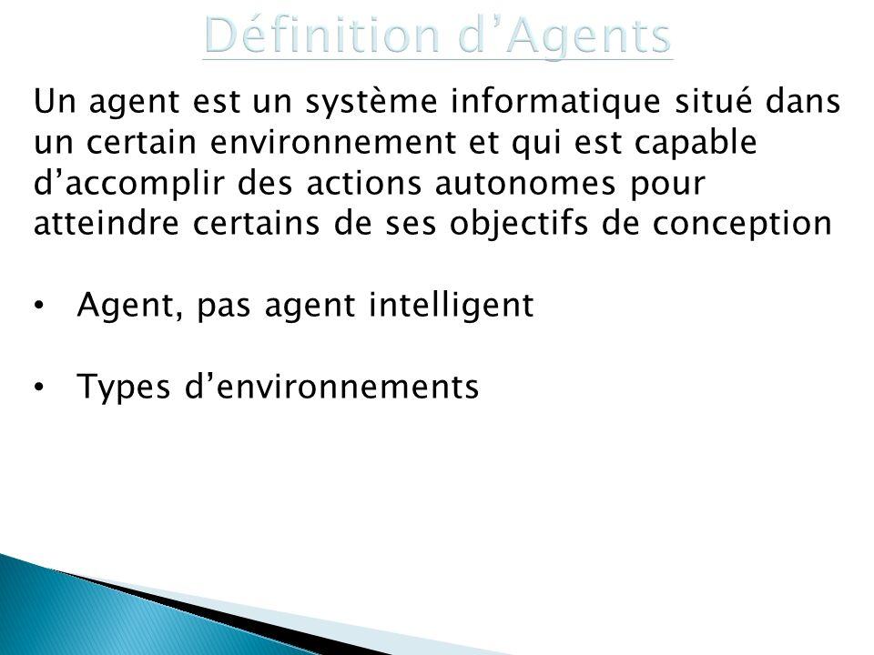 Un agent est un système informatique situé dans un certain environnement et qui est capable daccomplir des actions autonomes pour atteindre certains d