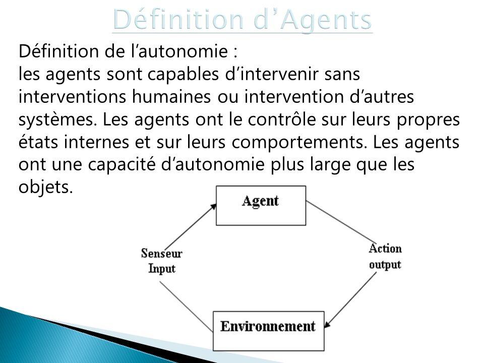 Définition de lautonomie : les agents sont capables dintervenir sans interventions humaines ou intervention dautres systèmes. Les agents ont le contrô