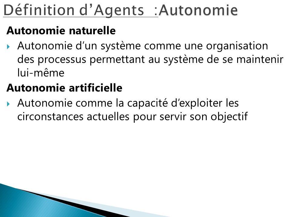 Autonomie naturelle Autonomie dun système comme une organisation des processus permettant au système de se maintenir lui-même Autonomie artificielle A