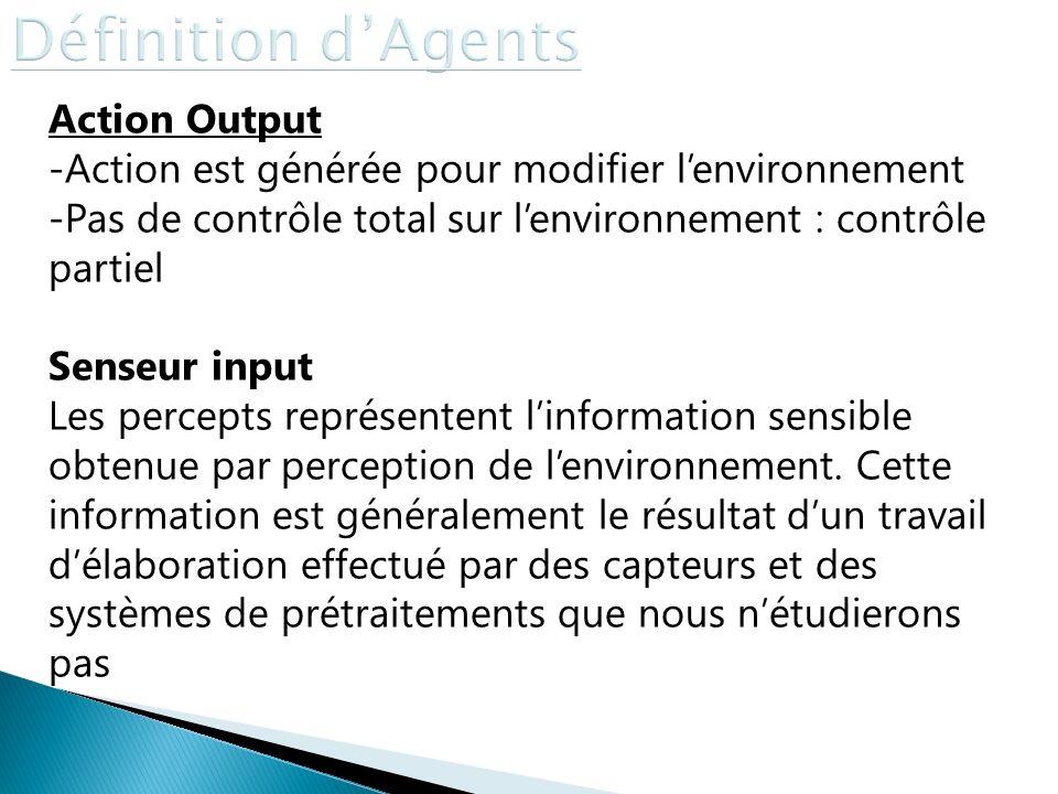 Action Output -Action est générée pour modifier lenvironnement -Pas de contrôle total sur lenvironnement : contrôle partiel Senseur input Les percepts