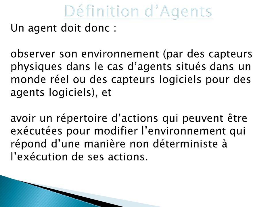 Un agent doit donc : observer son environnement (par des capteurs physiques dans le cas dagents situés dans un monde réel ou des capteurs logiciels po