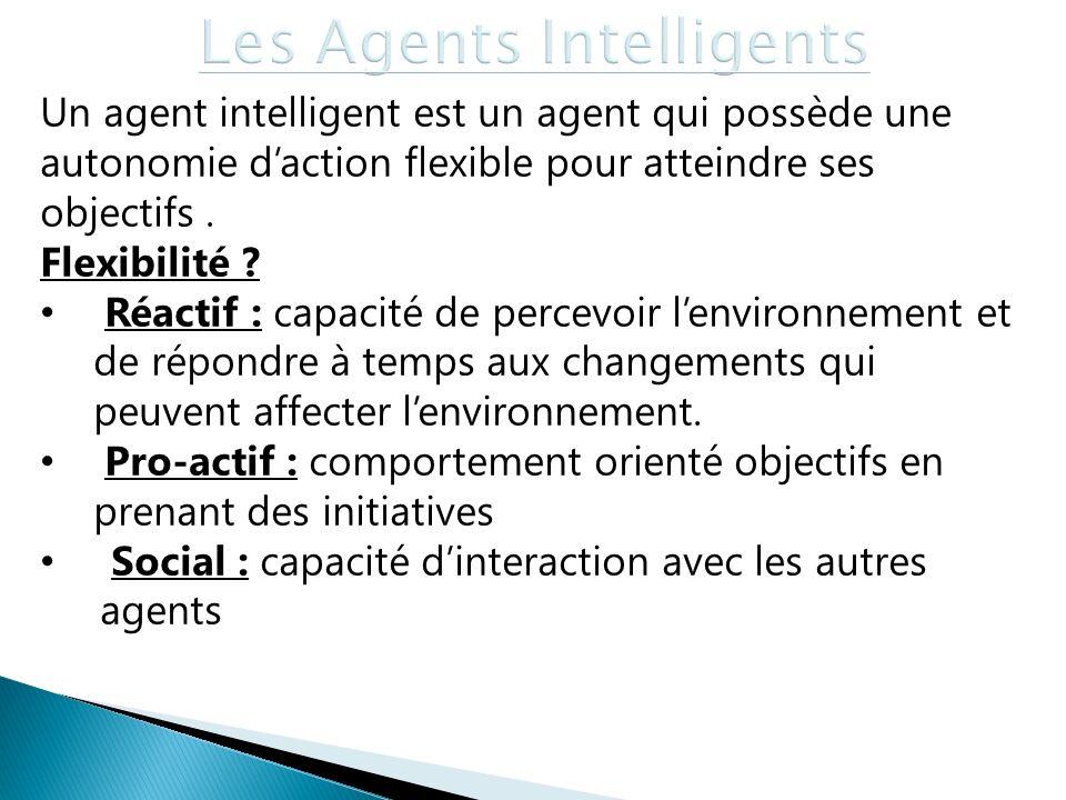 Un agent intelligent est un agent qui possède une autonomie daction flexible pour atteindre ses objectifs. Flexibilité ? Réactif : capacité de percevo