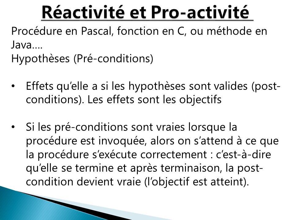 Procédure en Pascal, fonction en C, ou méthode en Java…. Hypothèses (Pré-conditions) Effets quelle a si les hypothèses sont valides (post- conditions)