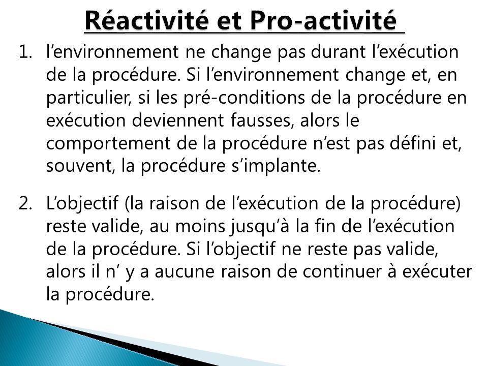 1.lenvironnement ne change pas durant lexécution de la procédure. Si lenvironnement change et, en particulier, si les pré-conditions de la procédure e