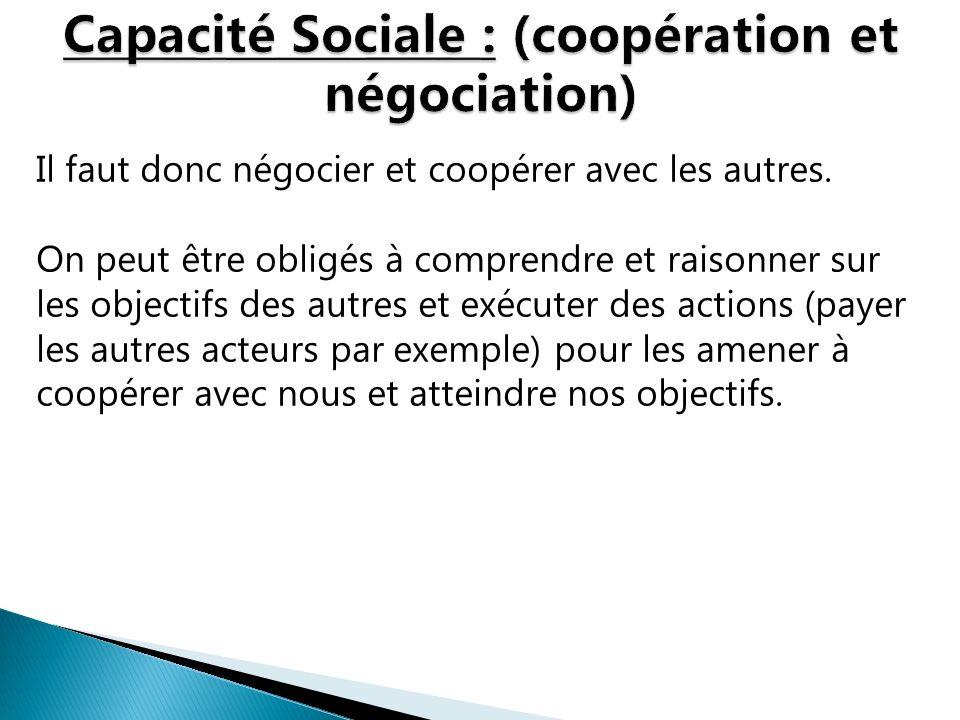 Il faut donc négocier et coopérer avec les autres. On peut être obligés à comprendre et raisonner sur les objectifs des autres et exécuter des actions