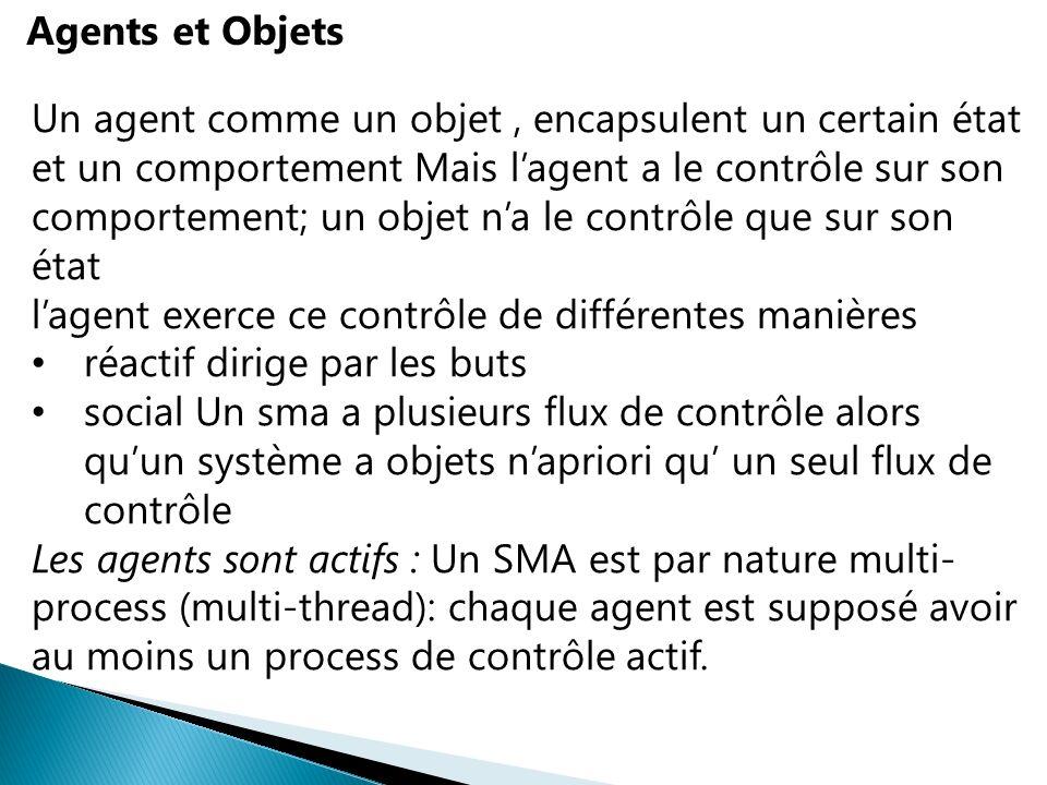 Agents et Objets Un agent comme un objet, encapsulent un certain état et un comportement Mais lagent a le contrôle sur son comportement; un objet na l