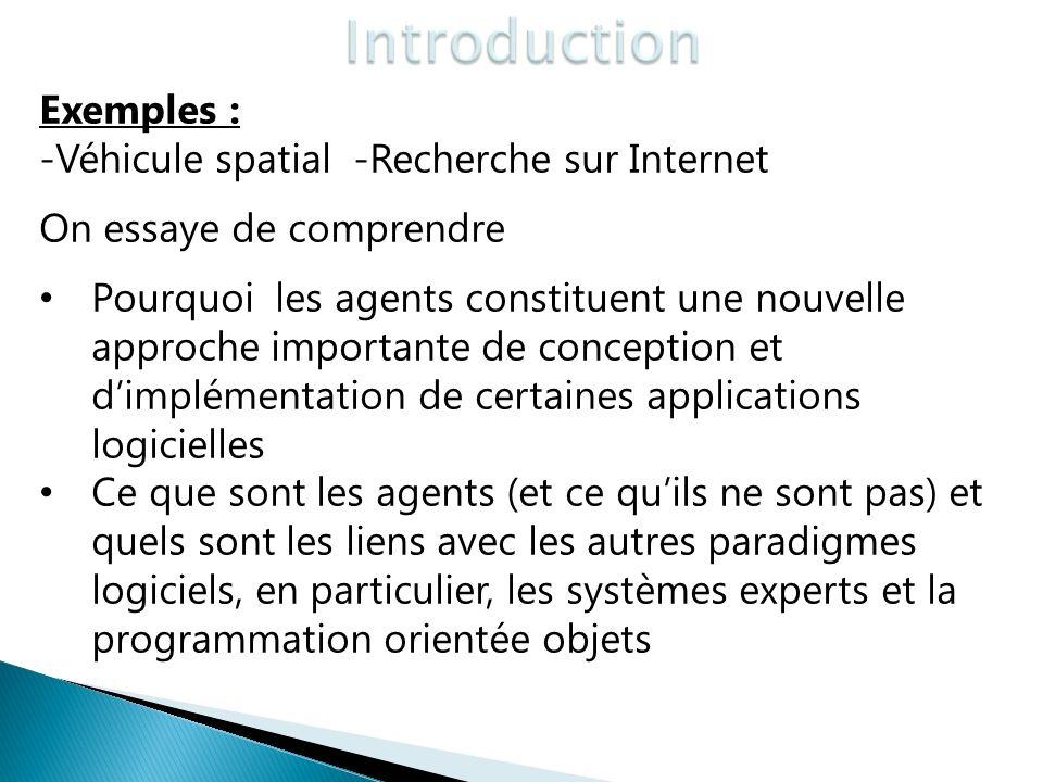 Exemples : -Véhicule spatial -Recherche sur Internet On essaye de comprendre Pourquoi les agents constituent une nouvelle approche importante de conce