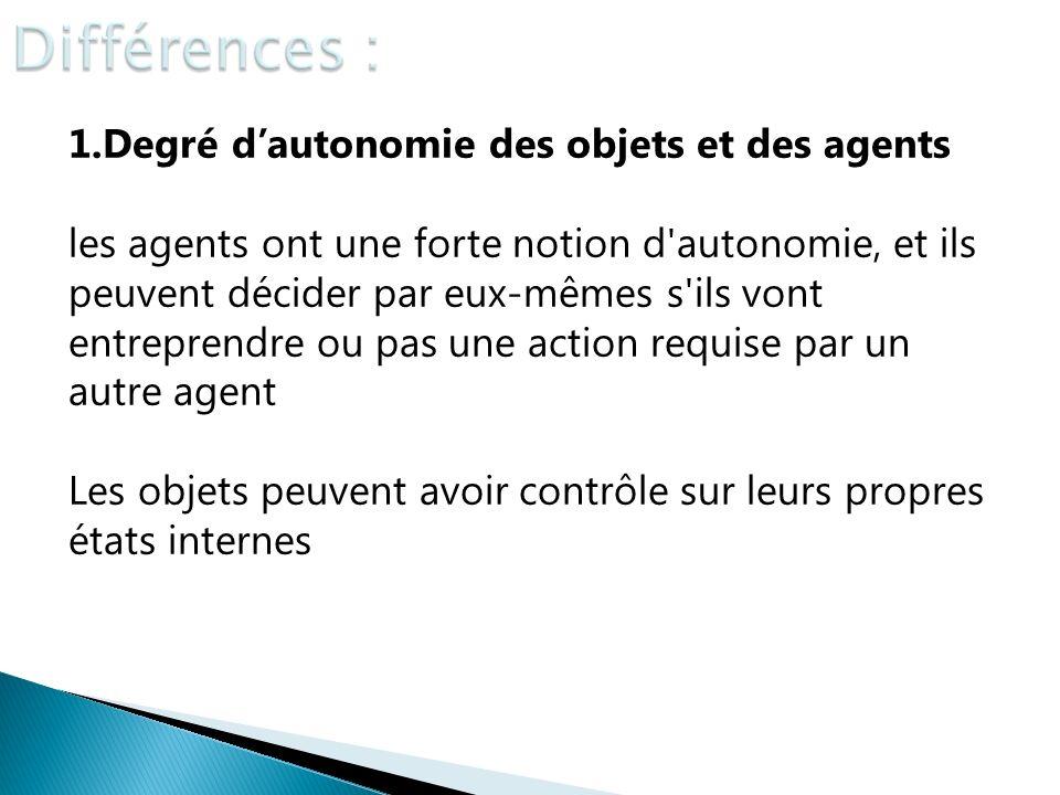 1.Degré dautonomie des objets et des agents les agents ont une forte notion d'autonomie, et ils peuvent décider par eux-mêmes s'ils vont entreprendre