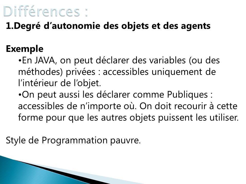 1.Degré dautonomie des objets et des agents Exemple En JAVA, on peut déclarer des variables (ou des méthodes) privées : accessibles uniquement de lint