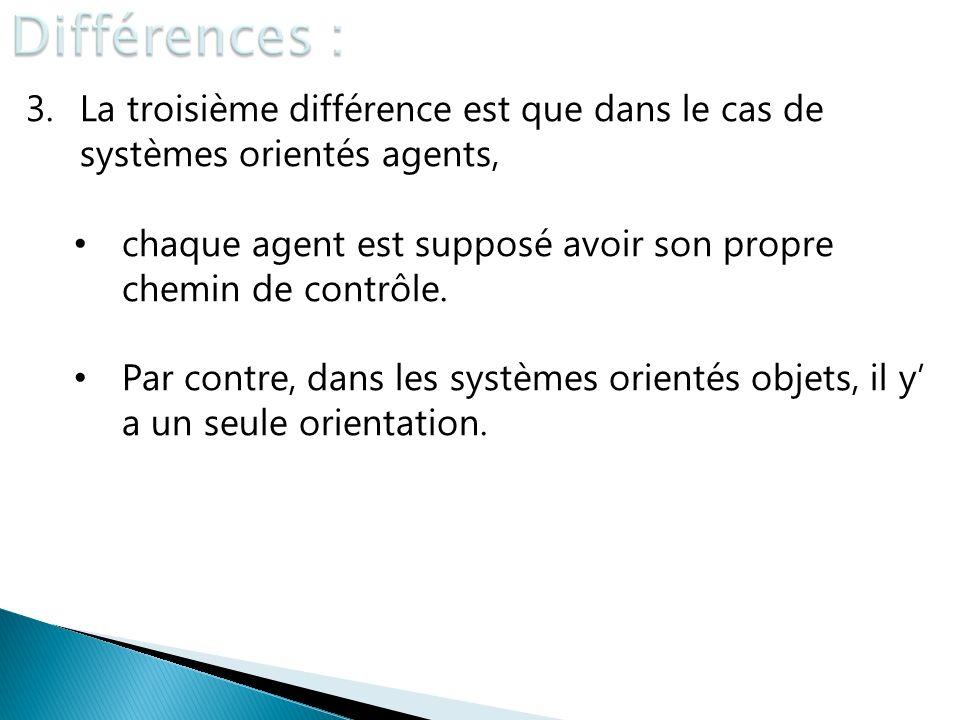 3.La troisième différence est que dans le cas de systèmes orientés agents, chaque agent est supposé avoir son propre chemin de contrôle. Par contre, d