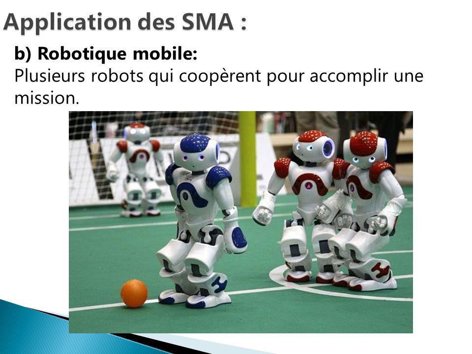 b) Robotique mobile: Plusieurs robots qui coopèrent pour accomplir une mission.
