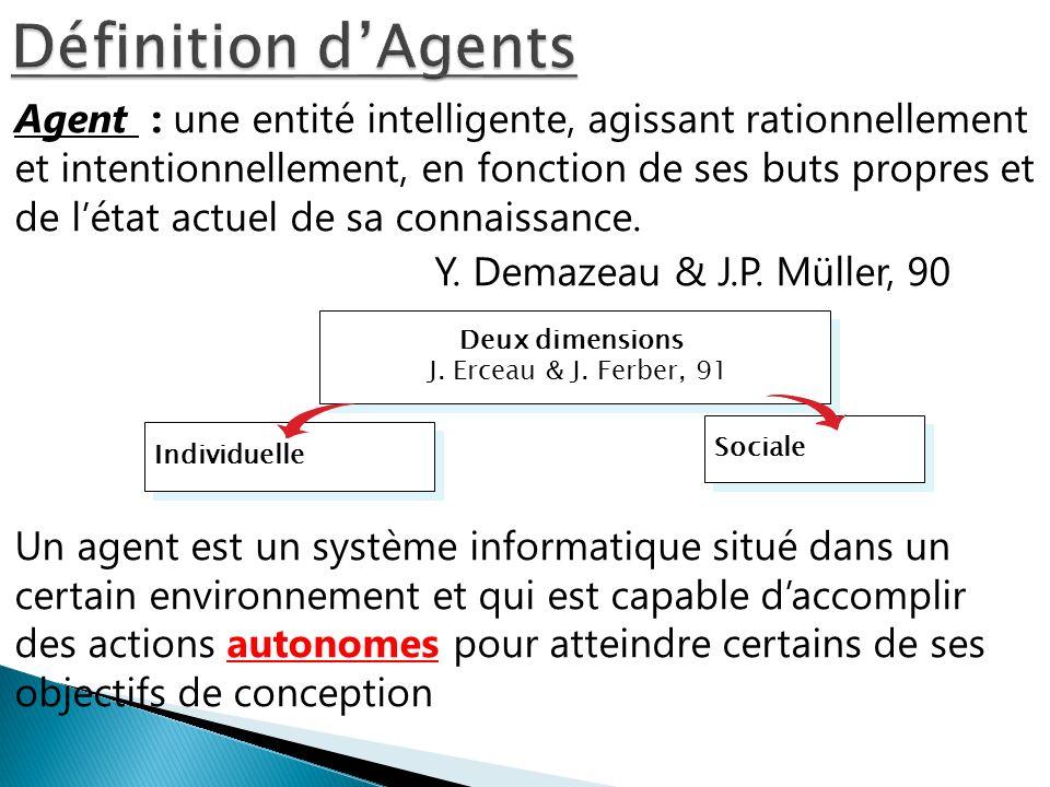 Agent : une entité intelligente, agissant rationnellement et intentionnellement, en fonction de ses buts propres et de létat actuel de sa connaissance
