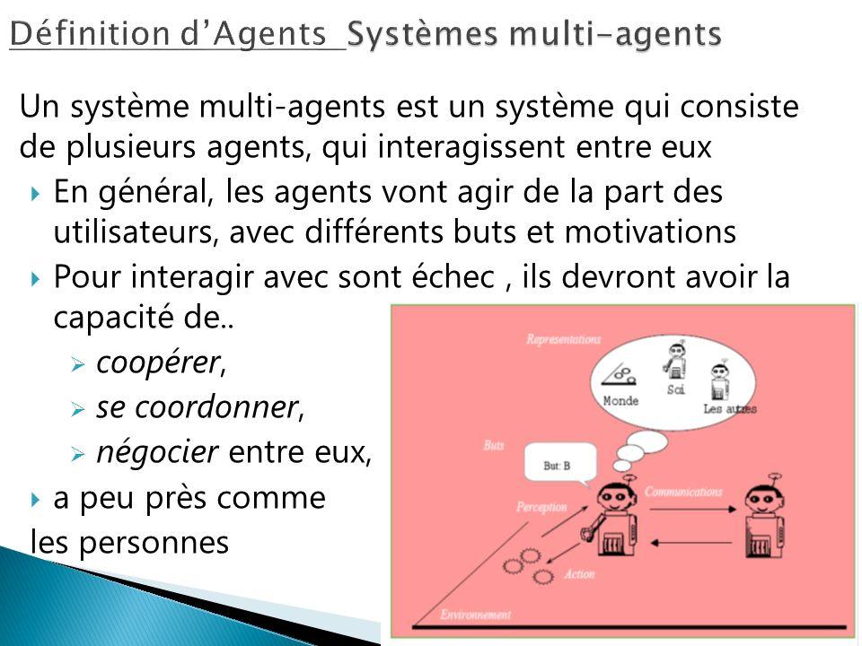 Un système multi-agents est un système qui consiste de plusieurs agents, qui interagissent entre eux En général, les agents vont agir de la part des u
