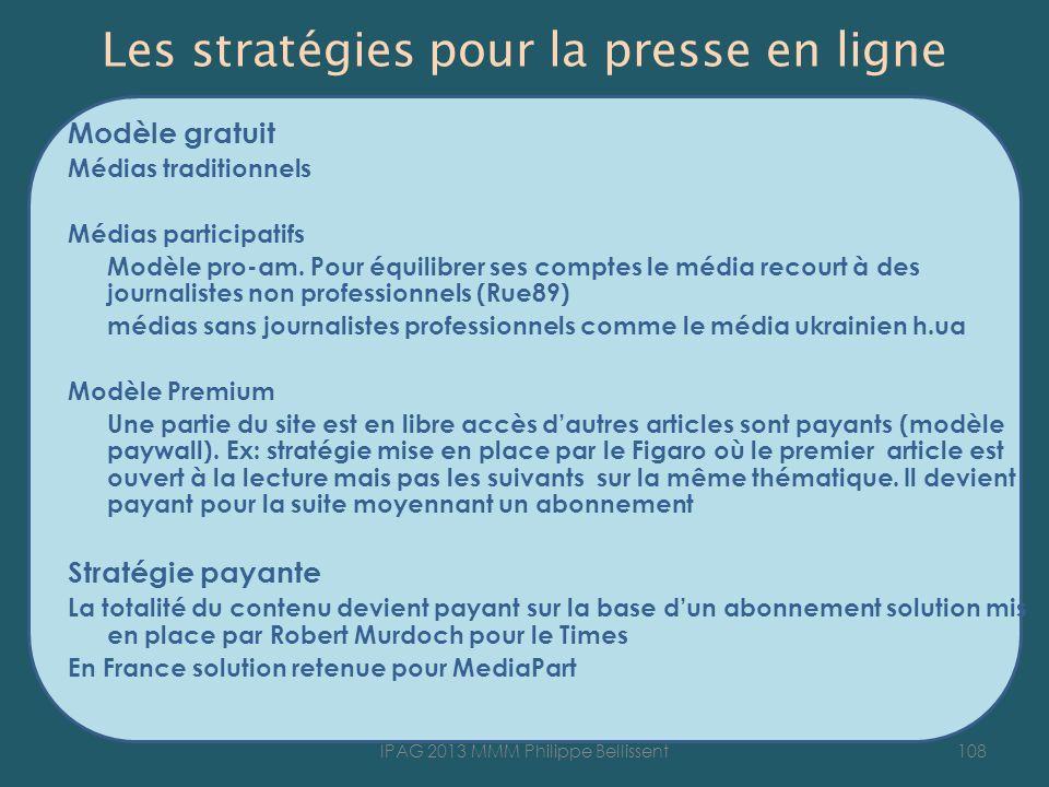 Les stratégies pour la presse en ligne Modèle gratuit Médias traditionnels Médias participatifs Modèle pro-am. Pour équilibrer ses comptes le média re
