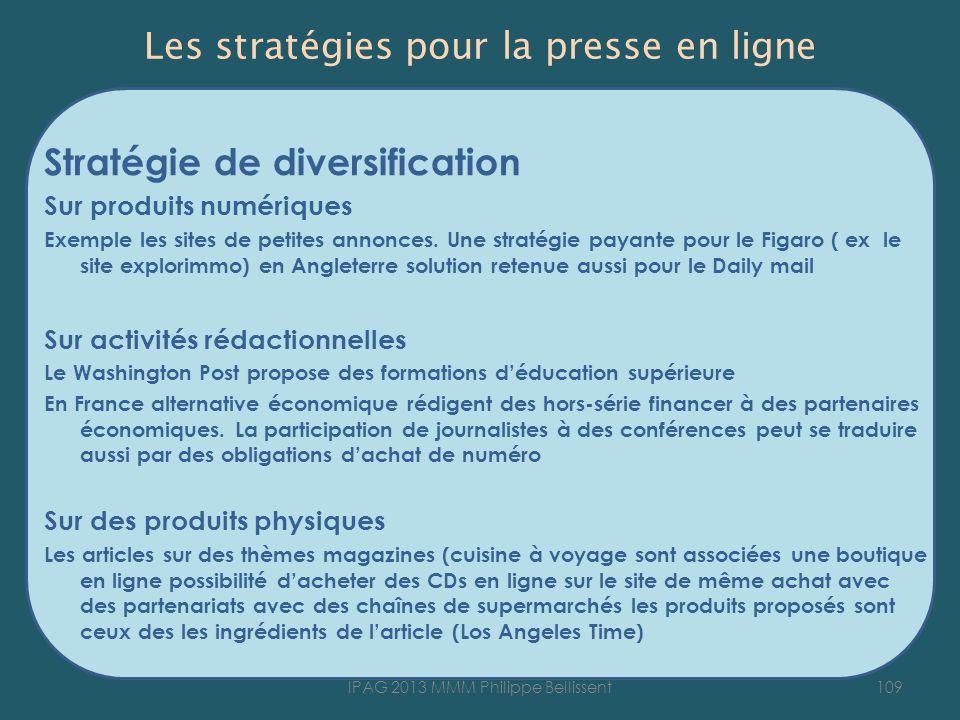 Les stratégies pour la presse en ligne Stratégie de diversification Sur produits numériques Exemple les sites de petites annonces.