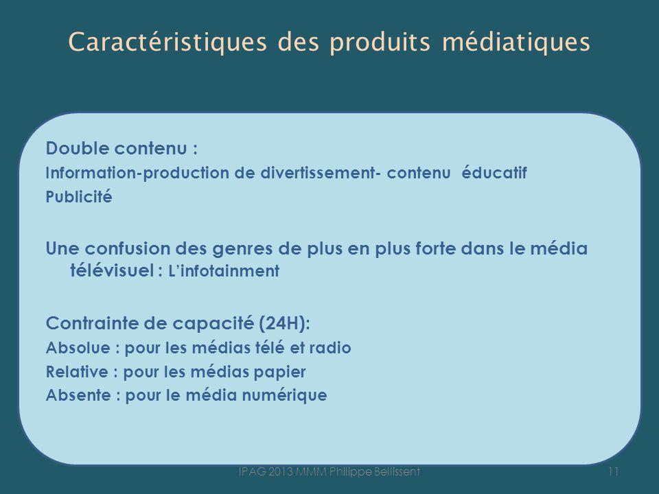 Caractéristiques des produits médiatiques Double contenu : Information-production de divertissement- contenu éducatif Publicité Une confusion des genr