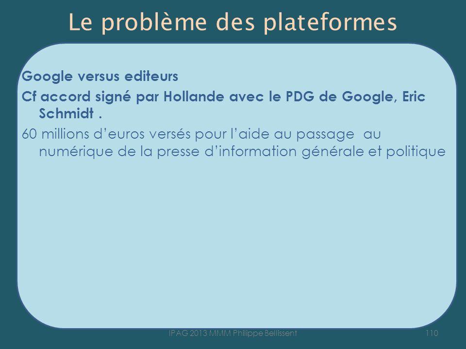 Le problème des plateformes Google versus editeurs Cf accord signé par Hollande avec le PDG de Google, Eric Schmidt. 60 millions deuros versés pour la