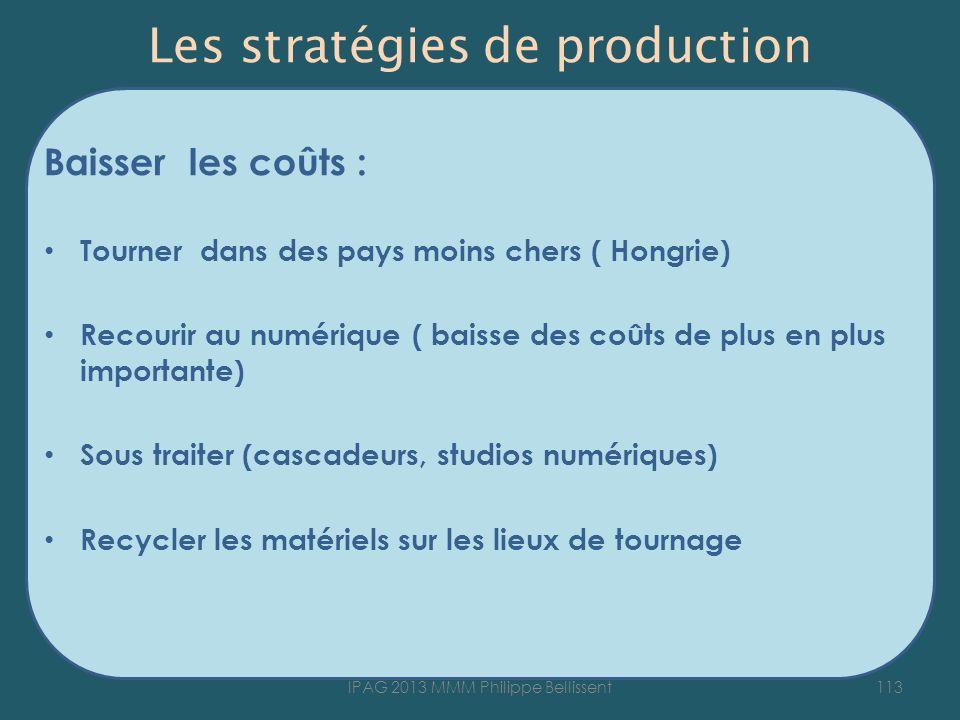 Les stratégies de production Baisser les coûts : Tourner dans des pays moins chers ( Hongrie) Recourir au numérique ( baisse des coûts de plus en plus