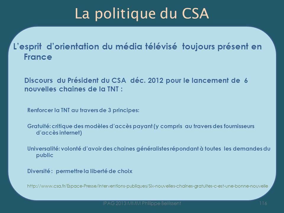 La politique du CSA Lesprit dorientation du média télévisé toujours présent en France Discours du Président du CSA déc. 2012 pour le lancement de 6 no