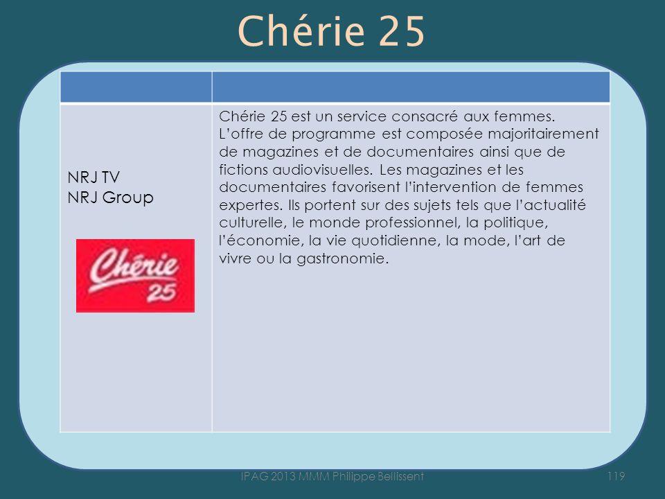 Chérie 25 119IPAG 2013 MMM Philippe Bellissent NRJ TV NRJ Group Chérie 25 est un service consacré aux femmes. Loffre de programme est composée majorit