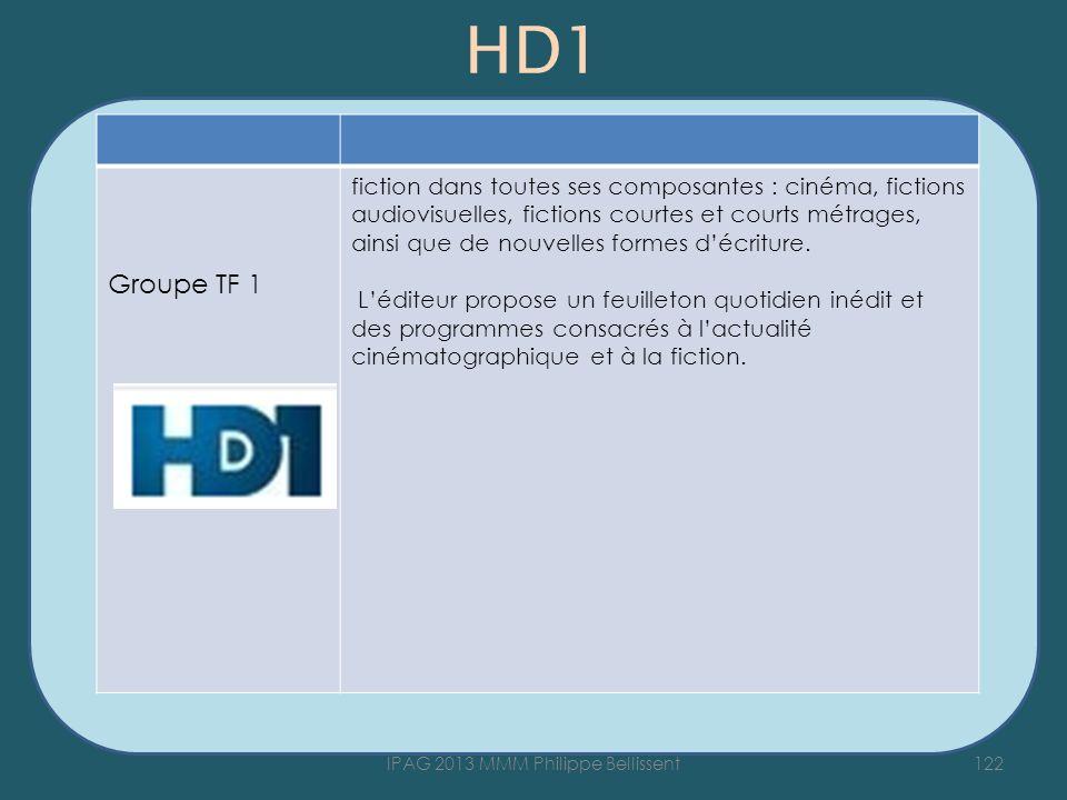 HD1 122IPAG 2013 MMM Philippe Bellissent Groupe TF 1 fiction dans toutes ses composantes : cinéma, fictions audiovisuelles, fictions courtes et courts métrages, ainsi que de nouvelles formes décriture.