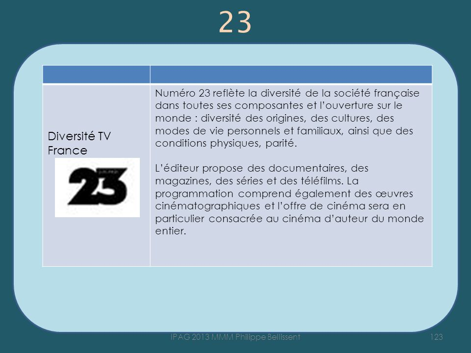 23 123IPAG 2013 MMM Philippe Bellissent Diversité TV France Numéro 23 reflète la diversité de la société française dans toutes ses composantes et louverture sur le monde : diversité des origines, des cultures, des modes de vie personnels et familiaux, ainsi que des conditions physiques, parité.